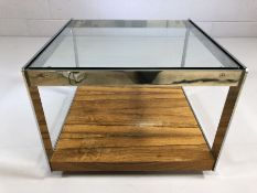 Mid Century style glass and metal framed square coffee table on wheels, approx 55cm x 55cm x 41cm