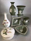 Collection of Wedgewood china to include five pieces of green Jasper Ware, a Kutani Crane vase and