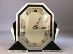 Art Deco White Agate and Slate mantle clock by EMANUEL of SOUTHAMPTON approx 16.5 x 15cm tall with