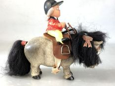 Vintage Plastech Thelwell pony with rider, approx 16cm in height (including rider)