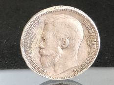 1899 Silver Russia rouble approx 19.7g