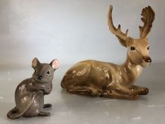 Beswick figure of a deer marked 954 and a grey mouse (slight chip to ear)