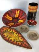 Six pieces of Poole pottery to include 'Delphis' bowl, shape 58, approx 34cm in diameter, signed