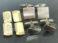 Three pairs of Silver and Gold on Silver cufflinks