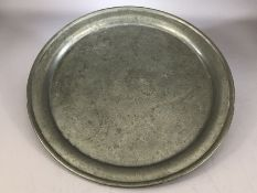 Circular hammered pewter tray, approx 40cm in diameter