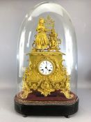 Large French Gold ornate mantle clock by Martin Baskett & Co Paris approx height to top of dome