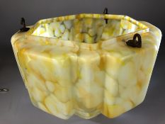 Art Deco yellow and white glass pendant light shade of hexagonal form, approx 30cm in diameter