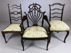 Three similar upholstered antique chairs