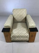 Vintage upholstered armchair with built-in cupboards to the arms (A/F)