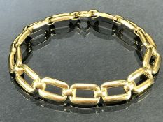 14ct Gold bracelet with large contemporary square links marked 585 approx 18cm long & 11g