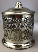 Silver hallmarked pierced pot with lid Chester hallmarks on wooden base approx 15cm tall and total