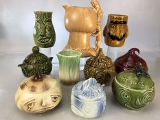 Collection of six Sylvac novelty 'vegetable face' and sauce jars to include apple sauce, beetroot,