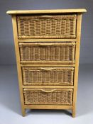 Small pine chest of four wicker drawers