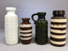Collection of four West German art pottery vases, three by Scheurich and marked 289-47, 280-51 and