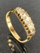 18ct Gold five stone diamond ring size 'K'