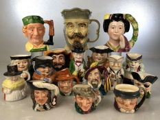 Collection of approx 17 character / toby jugs to include Royal Doulton, Kingston Pottery, Oldcourt