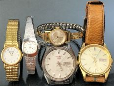 Collection of Gents and ladies watches to include a white gold plated ladies Seiko