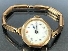 9ct Gold watch (no glass A/f) and 9ct gold expanding bracelet (total weight 19.1g)