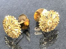 Pair of High Carat (tests as 22ct) flower design Gold earrings boxed approx 13mm diameter and
