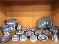 Collection of Wedgwood blue Jasper Wares, approx 19 pieces