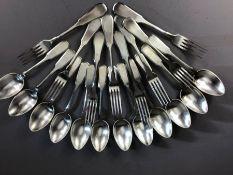 Russian Josef Fraget Silver coloured flatware each piece stamped FRAGET N PLAQUE: Twelve sering