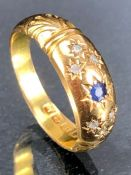 18ct Gold Sapphire and Diamond ring size 'Q' approx 2.8g