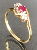 9ct Gold ring set with Garnet and diamond shoulders size 'R'