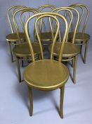 Set of six bentwood gold sparkly bistro chairs