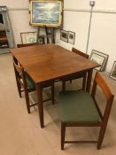Mid century Dining table and four chairs by BCM table 121 x 84cm not extended