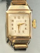 9ct Gold cased watch by Avia with expanding bracelet hallmarked to inner case