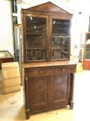 Mahogany bureau bookcase with cupboard under, drawer opening to leather writing desk and internal