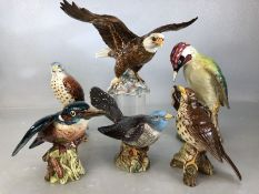 Collection of six Beswick birds to include Kestrel 2316, Cuckoo 2315, Songthrush 2308, Kingfisher