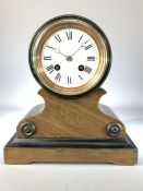 Late 19th century French mahogany drum head clock with enamel face, approx 24cm in height