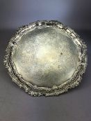 Large Victorian Silver salver or tray on ball and claw feet hallmarked for London 1897 by maker