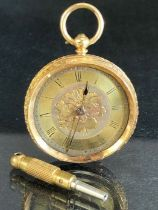 18ct Gold cased pocket watch (no glass) movement marked DF&C winds and runs (total weight 33g)