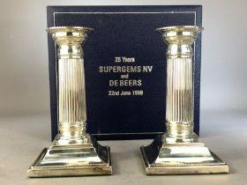 Pair of Hallmarked Silver Corinthian candlesticks on stepped bases sheffield by C J Vander Ltd