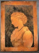 Brass plaque depicting the portrait of a lady possibly for brass rubbings