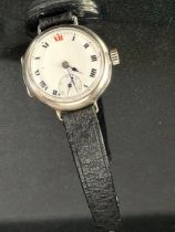 Silver Hallmarked circular watch with subsidiary hand 15 jewels