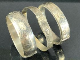 Three Silver Bangles total weight approx 68g