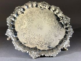 Victorian Antique hallmarked Silver Tray with Rampant Lion engraved to centre on three feet London