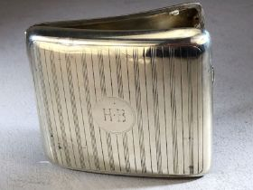 Hallmarked silver cigarette box engraved to front & approx 150g
