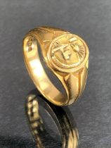 18ct Gold ring set with a Celtic Quarter Stater coin size 'X' and approx 11.5g