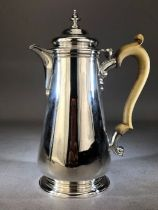 Silver hallmarked Coffee pot with Bone handle hallmarked for London by D & J WELLBY approx 22cm tall