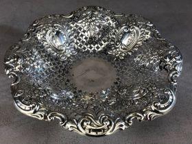 Victorian Silver Hallmarked Bon Bon Dish on circular foot Sheffield 1896 by M Bros approx 20cm