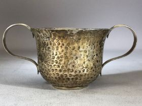 Hallmarked silver hammered two handled loving cup Birmingham 1905 by William Aitken approx 10cm