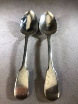 William IV set of three hallmarked silver fiddle pattern spoons, maker John James Whiting, London