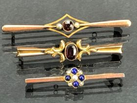 Three 9ct Gold Brooches set with various stones (total weight 8.8g)