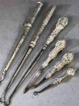Collection of silver handled Antique items to include button pulls etc