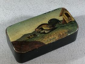 """19th century papier mache rectangular snuff box, the hinged cover painted with Pheasants entitled """""""