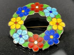 Vintage silver and enamel flower brooch Birmingham silver hallmarks makers AHD&S for A H Darby &